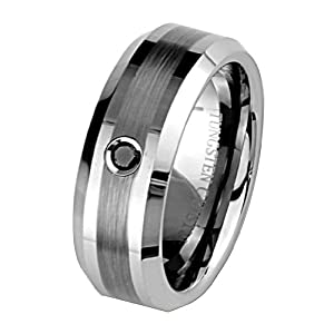 8mm 1 one Stone Black Diamond Bezel Cobalt Free Tungsten Carbide COMFORT-FIT Wedding Band Ring for Men and Women (Size 8 to 12) - Size 9