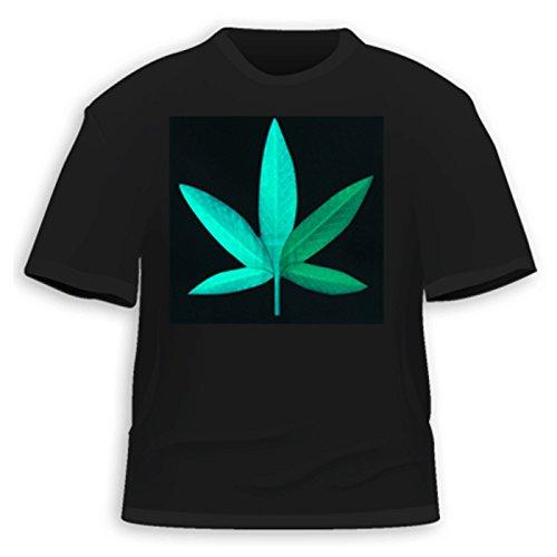 HDE Men's Sound-Activated LED T-Shirt (Hemp Leaf, XX-Large)