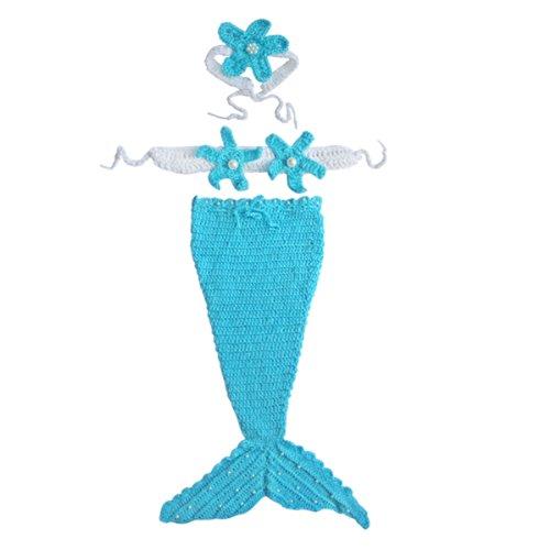 Baby Girls Wool Yarn Pearls Blue Ocean Mermaid Crochet Knit Photo Prop Sz 0-12 Months