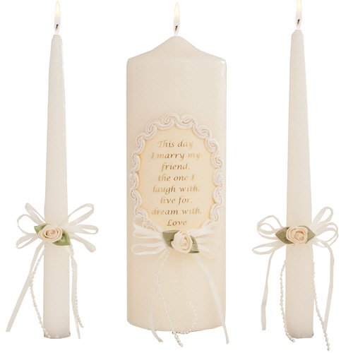 Celebration Candles Wedding Unity Candle Set, 9-inch Pillar Candle with