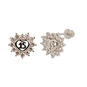 sterling silver 15 anos quinceanera stud