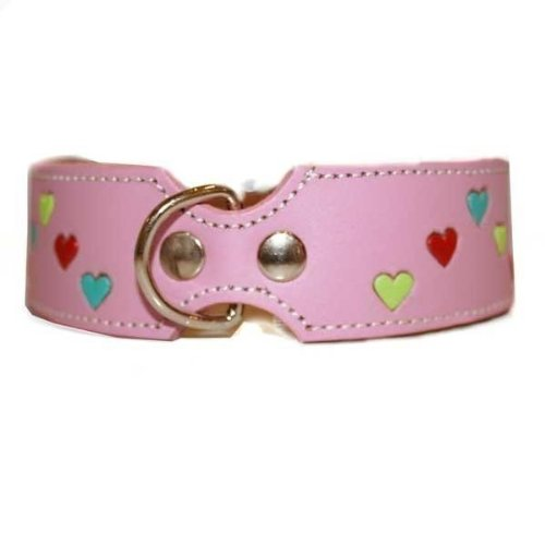 The Cool Puppy Tuff Love Leather Dog Collar with Hearts - Pink