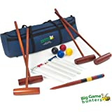Four Player Complete Croquet Set - full size hardwood mallets, winning post, thick steel hoops & 12oz balls in a storage bag
