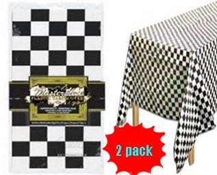 Checkered Race Table Cover - Set Of 2 - Checkered Flag Racing Party Supplies Tablecloth front-541285
