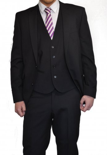 Three-Piece Suit in Black, Brand: Lanificio Tessile d'Oro 102 (Long 42)