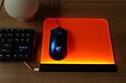 Rantopad Cube Acrylic Gaming Mouse Pad, LED Backlight 10.2*8.6*0.2 in, Orange