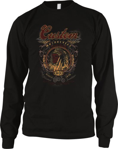 Custom Motorcycle Indian Head Men's Long Sleeve Thermal, Indian Skull Motorcycle Rider Design Men's Thermal Shirt (Black, Small)