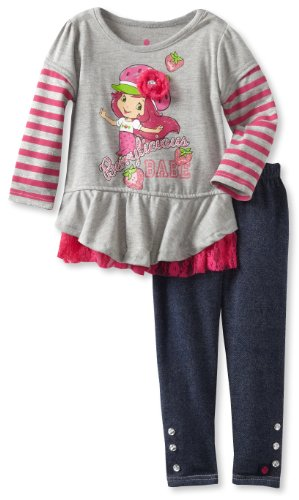 Strawberry Shortcake Girls 2 6X 2 Piece Berrylicious Babe Legging Set Grey 3T