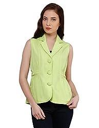 Oxolloxo Women Green Sleeveless Blazer