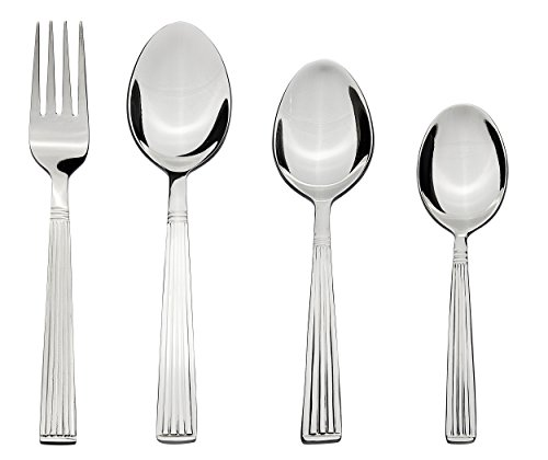 Solimo 24 Piece Stainless Steel Cutlery Set, Stripes (Contains: 6 Table Spoons, 6 Tea Spoons, 6 Forks, 6 Dessert...