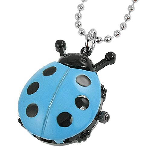 Rosallini Woman Sky Blue Black Ladybug Pendant Necklace Quartz Watch