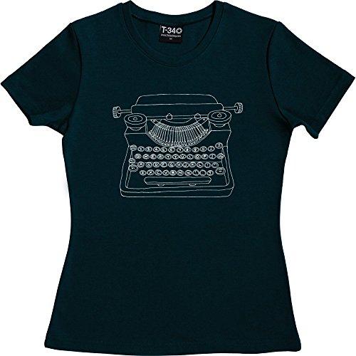 Typewriter T-Shirt Navy Blue Women's