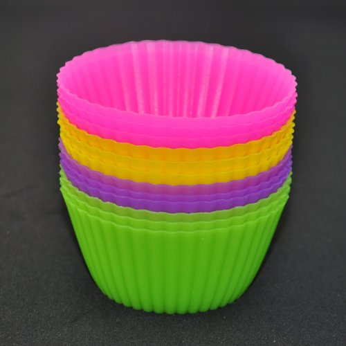 Silicone Baking Cups - 4 Colors of 12 Sets, Silicone Baking Molds BPA Free Silicone... by