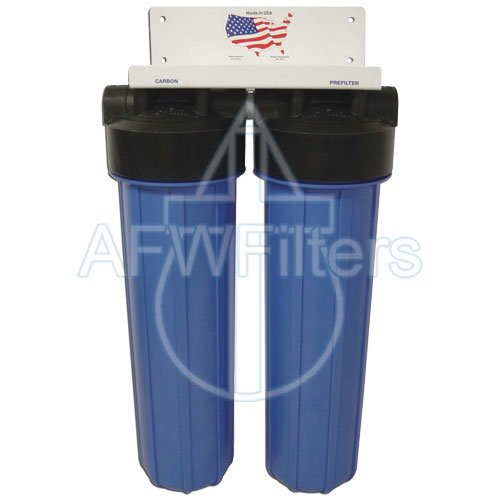 """2-Stage 20"""" Big Blue Whole House Water Filter System For Scale & Chemical, Taste, And Odor - Radial Flow Carbon & Phosphate Filter front-41955"""