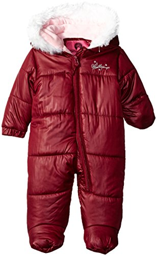 Weatherproof Baby Girls Bubble Jacket with Printed Dewspo Shell, Merlot, 18 Months