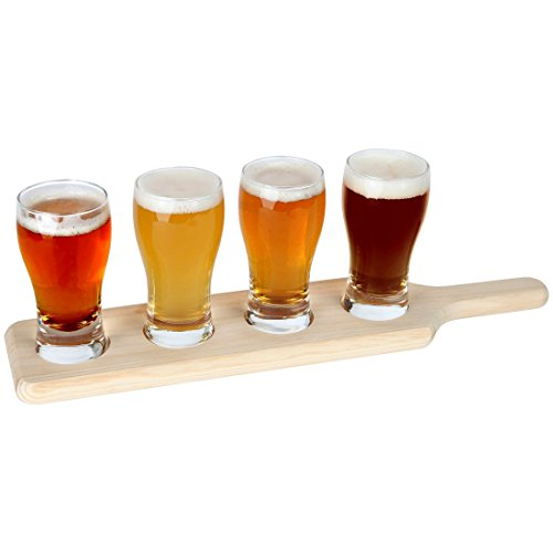 Lily's Home Beer Tasting Set. Beer Flight. 4 Beer Glasses on a Wooden Tray (Sam Adams Beer Glass Set compare prices)
