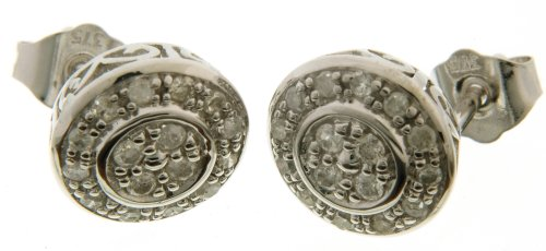 9ct White Gold Ladies' Diamond Earrings