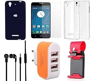 NIROSHA Tempered Glass Screen Guard Cover Case Headphone Mobile Holder Charger Combo for YU Yureka Combo