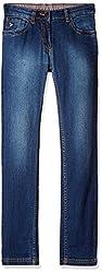US Polo Girls' Jeans (UTJN5035_Dark Blue _L)