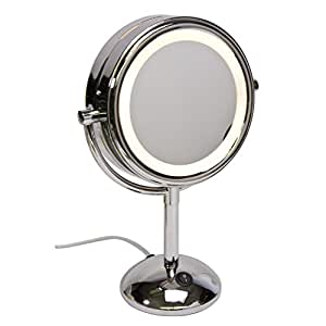 harry d koenig co lighted vanity mirror round 8 inch p. Black Bedroom Furniture Sets. Home Design Ideas
