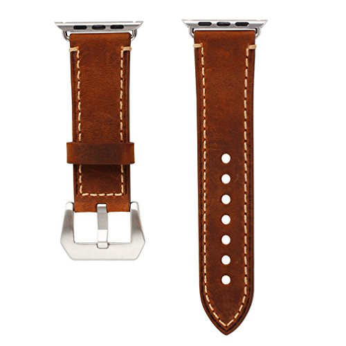 Apple Watch Band, 42mm iWatch Strap Premium Vintage Crazy Horse Genuine Leather Replacement Watchband with Stainless Metal Clasp for All Apple Watch Sport Edition (42mm Brown) 3