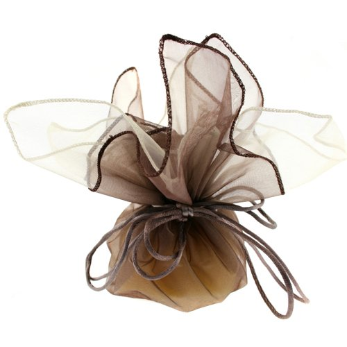 10 Designer Organza Fabric Drawstring Gift Bags Pouches Party Favor Gifts Packaging Coffee Brown Cream Medium Size