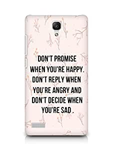 AMEZ dont promise when you are happy Back Cover For Xiaomi Redmi Note