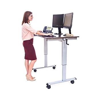 LUXOR Standup-CF48-DW Stand Up Desk, Crank Adjustable, 48