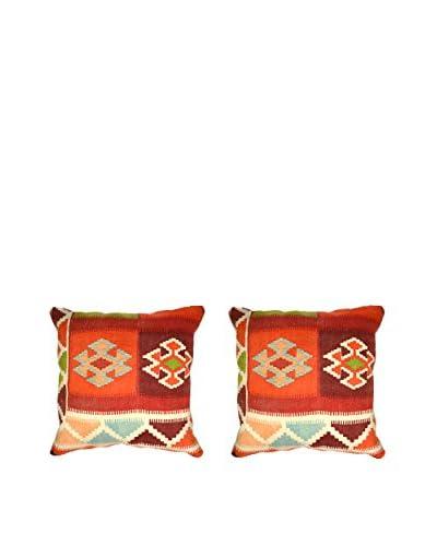 Uptown Down Set of 2 Found Wool Throw Pillows, Orange