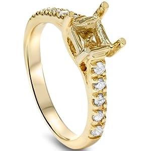Diamond Semi Mount Engagment Setting Mounting Gold Ring