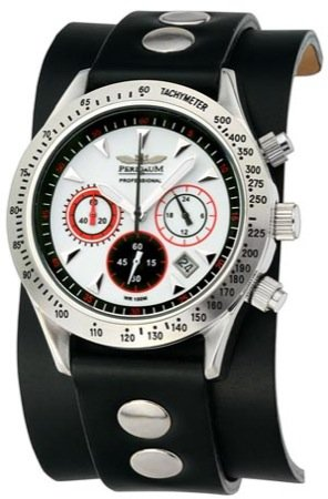 Perigaum Men's Professional Diver Chronograph with IP Plating Watch - White Dial - P0701-SW