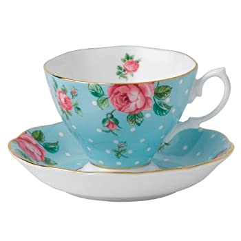 Polka Blue Cup and Saucer