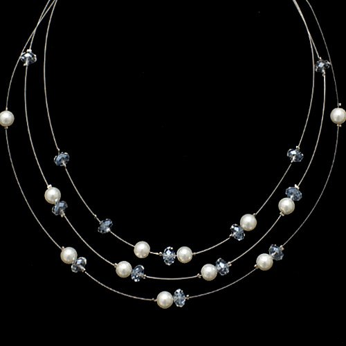 Chuvora Pearl and Clear Crystal 3-Strand Necklace with Lobster Claw Clasp 16''-19''