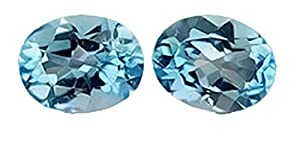 Pair Blue Topaz Ovals Unset Loose Gemstone 9 X 7mm (Qty=2)
