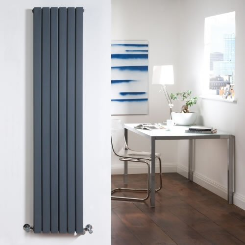 Anthracite Designer Double Radiator - Flat Panels - Luxury Central Heating Vertical 'Plane' Columns - 1600mm x 354mm