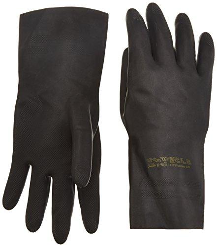 Ansell Extra 87-950 Guanti in lattice di gomma naturale, protezione contro le sostanze e i liquidi, colore: nero (Confezione da 1 paio), 10.5-11, nero, 1