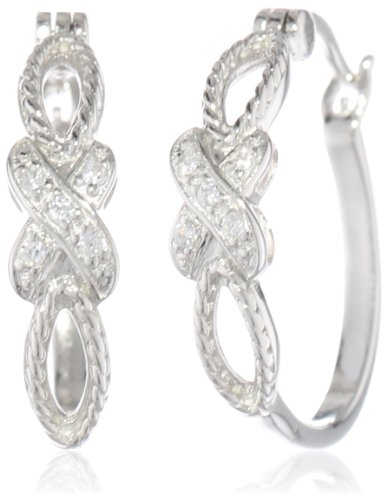 Sterling Silver Simulated-Diamond Crossover Hoop Earrings