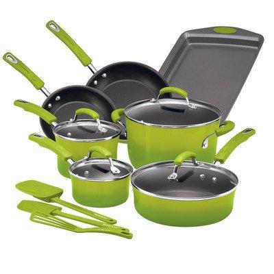 14 Piece Nonstick Cookware Set Color: Green Gradient (Cookware Set Green Gradient compare prices)
