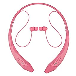 Rymemo 2016 Newest Design Diamond Surface Universal Wireless Bluetooth 4.0 Headset Stereo Music Headset Headphones Earpiece Sports Vibration Neckband Style Earphones for Cellphone£¬Pink