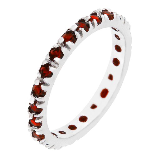 Channel Set Ruby Red Cubic Zirconia CZ Silver Tone Eternity Anniversary Ring (Size 5,6,7,8,9,10)