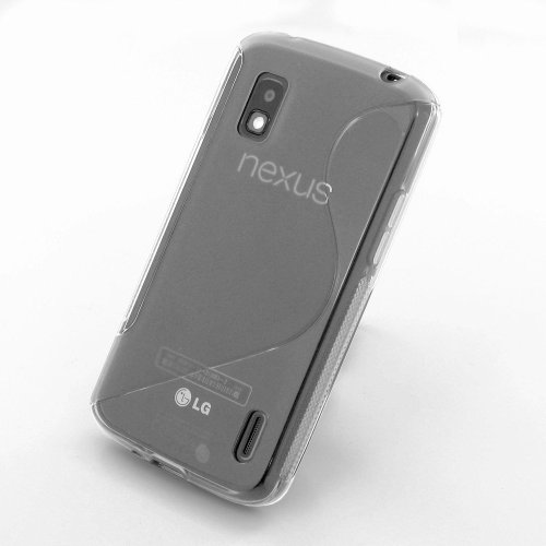 LG NEXUS 4 E960 Clear - Custodia Cover Case S Line Wave in Gel TPU Morbida + Pennino Capacitivo e Pellicola Schermo