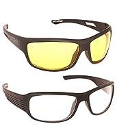 NightDriveNight Vision Anti Glare wrap Sunglasses Driving oggles wrap Goggles Pack Of 2 (Black ,NVL01)
