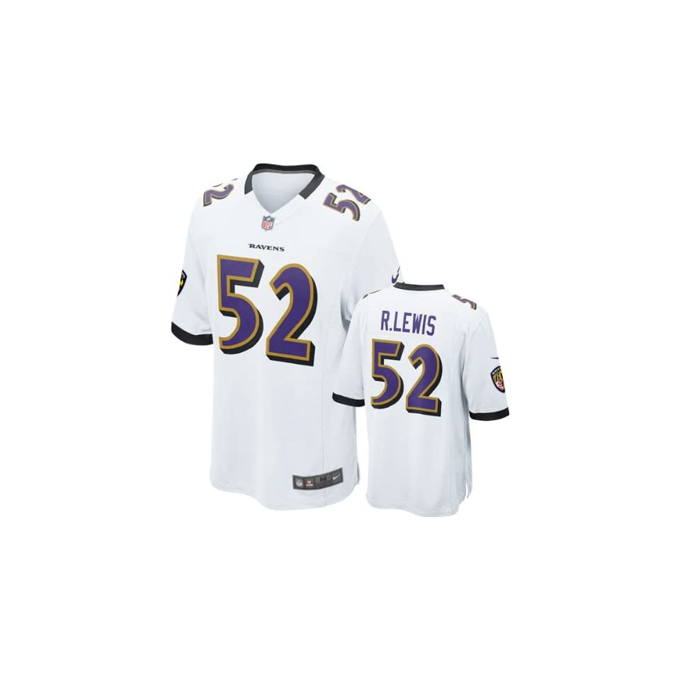 big sale 3555f 2c451 Ray Lewis Jersey Away White Game Replica #52 Nike Baltimore ...