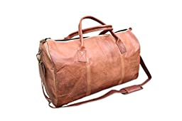 Rust Leather Genuine Distressed Leather Duffle Gym Travel Sports Bag Holdall 24x14x12 Inches Brown / Tan