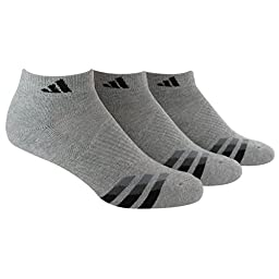adidas Men\'s Cushioned Low Cut Socks (Pack of 3), Heathered Light Onix/Black/Granite/Tech Grey, One Size