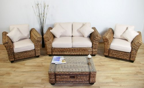 Conservatory Furniture KINGSTON ABACA Designer SUITE (Sofa, 2 Armchairs, Coffee  Table)