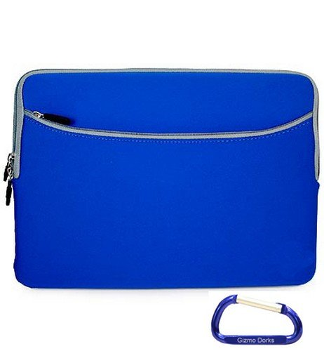 Apple MacBook Pro and MacBook Air 13.3 Inch Screen (BLUE) Laptop Sleeve Slipcase Zipper Case Cover, w/ Dual Pocket and Free Carabiner Keychain