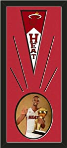 Miami Heat Wool Felt Mini Pennant & Chris Bosh Photo - Framed With Team Color... by Art and More, Davenport, IA