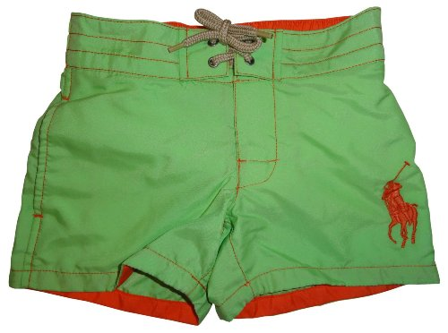 Boy's Polo by Ralph Lauren Swimming Trunks Bathing Suit Sanibel Green with Big Orange Pony Size 2T