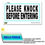 Please Knock Before Entering - 12 in x 6 in - Laminated Sign Window Business Sticker